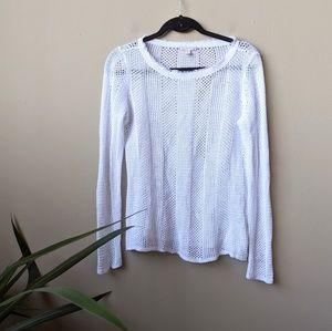 Eileen Fisher White Organic Linen Knit Sweater szS